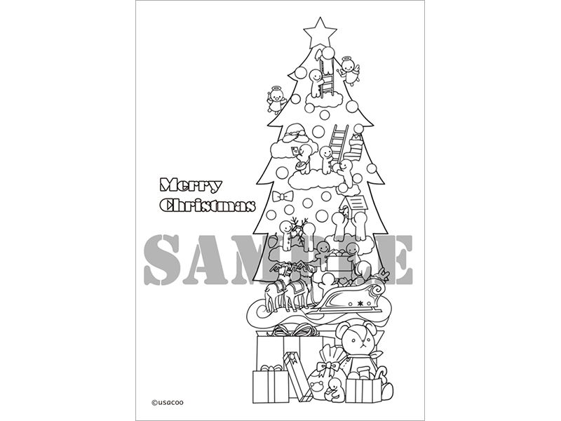 クリスマス塗り絵ポストカード雑貨文具 うさくーうさぎぱんだ